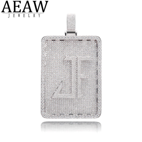 AEAW Custom hiphopjewelry rapper jewelry Letter moissanite pendant solid 10K white gold or s925 silver about 14.5ctw