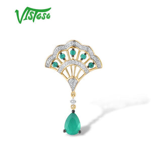 VISTOSO Gold Pendant For Women Genuine 14K 585 Yellow Gold Magic Emerald Sparkling Diamond Engagement Anniversary Fine Jewelry