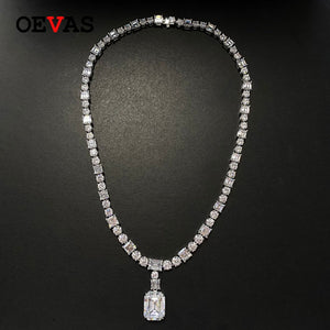 OEVAS 100% 925 Sterling Luxury Full High Carbon Diamond Bridal Pendant Necklace Sparkling Wedding Party Fine Jewelry Wholesale