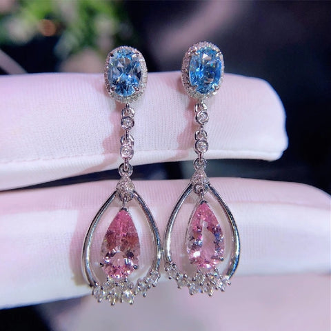Natural Morganite Sea Sapphire Blue Contrast Earrings Crystals Are Flawless The Color Is Good-Looking Fashionable And Versati