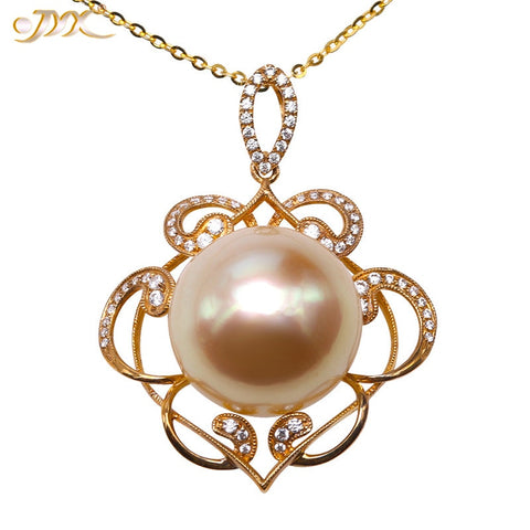 JYX Lustrous Big Bead 15.5mm Genuine Golden South Sea Pearl in Artistic 14k Gold Pendant Christmas Gift Eve