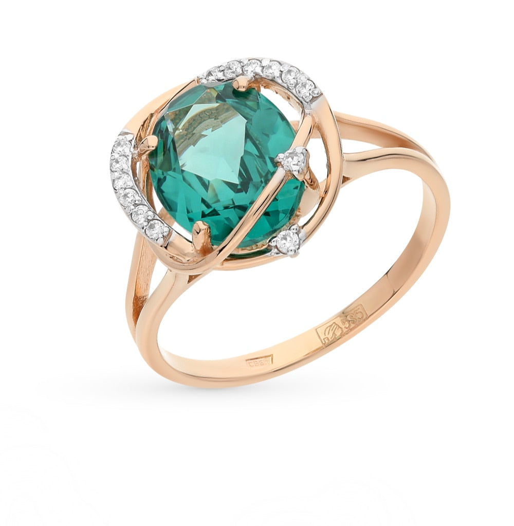 Gold ring with cubic zirconia and Paraiba sitals sunlight sample 585