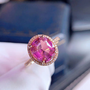 Natural Pink Tourmaline Ring 18K Gold Inlaid Crystal Moist Clean And Transparent  The Color Is Beautiful And The Appearance is