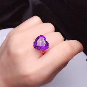 BK 18K Yellow Gold Natural Amethyst Ring With Genuine Gold 585 Women Jewelry Rings For Women Diamond Wedding Band
