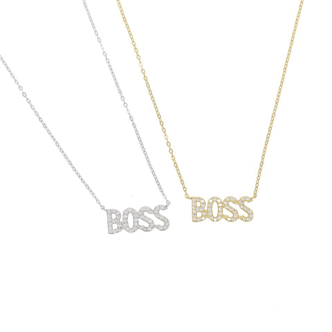 925 sterling silver paved Crystal Letter Boss BABE Pendant Necklaces Long 45cm Chain Necklace Choker Jewelry for Womens