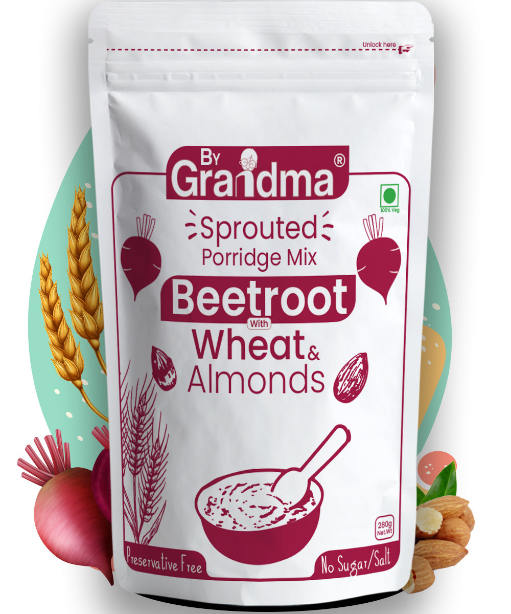 ByGrandma®Sprouted Wheat and Beetroot with Almonds Porridge Mix