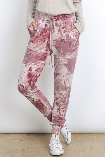 TIE DYE DRAWSTRING JOGGER PANTS WITH SIDE POCKETS