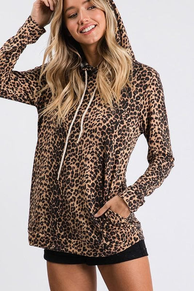 Leopard hooded top with side pockets.