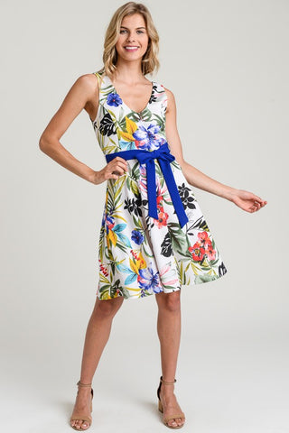 FLORAL DRESS WITH A FIT AND FLARE SILHOUETTE AND A SELF TIE WAIST