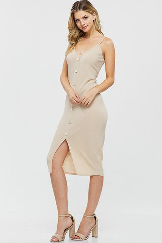 Faux Button Down Spaghetti Strap Rib Midi Dress