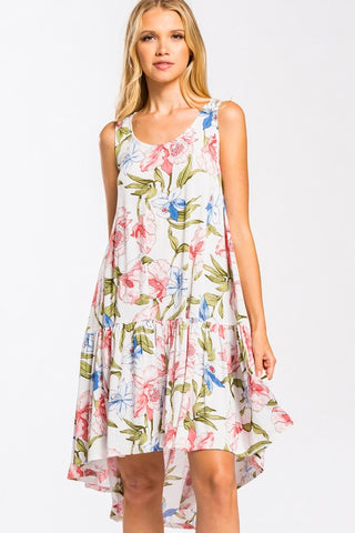 Sleeveless Floral High-Low Ruffle Hem Midi Dress