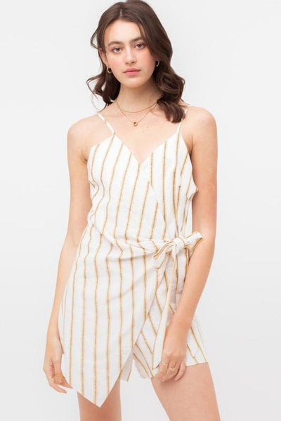 Linen Stripe V Neck Wrap Side Self Tie Romper