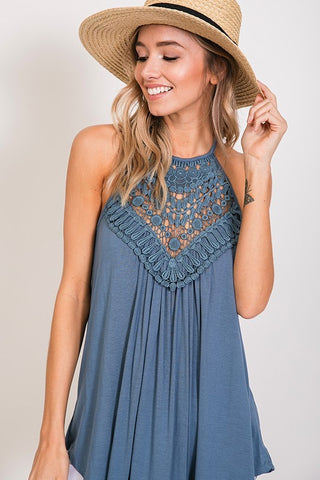Crochet Lace Detail Tank Top with Back Keyhole.