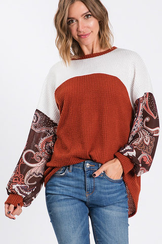 Waffle color block print bubble sleeves top