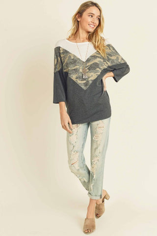 CAMO CHEVRON CUT TOP WITH DOLMAN 3/4 SLEEVES