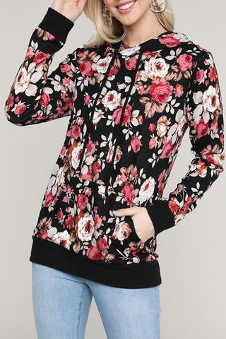 Floral Hoodie Long Sleeve Knit Top with Kangaroo Pocket