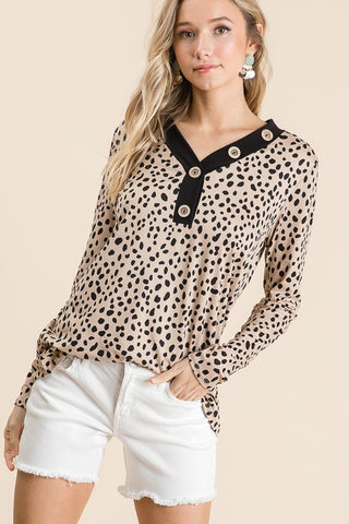 Long sleeve leopard print knit top