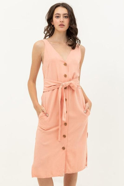 FRONT WAIST TIE BUTTONED DRESS