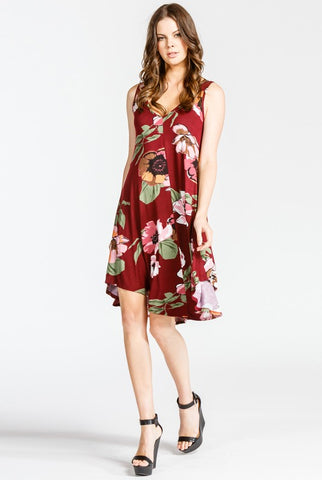 Sleeveless Scoop Back Floral Print Knit Dress