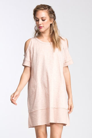 Short Sleeves Cold Shoulder Cotton Knit Dress