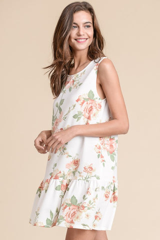 CRISSCROSS, FLORAL, DRESS, RUFFLED HEM
