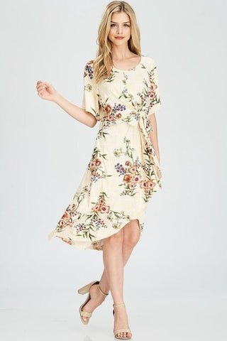 Floral print dress with knot detailing at the front.