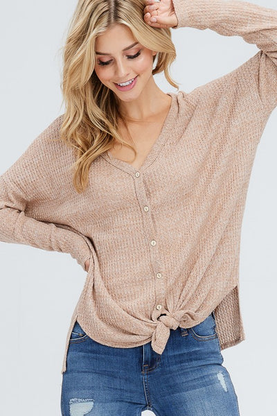 Long Sleeve Button Down Two Tone Thermal Top