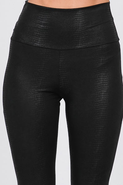 Faux Leather Textured High Waist Leggings