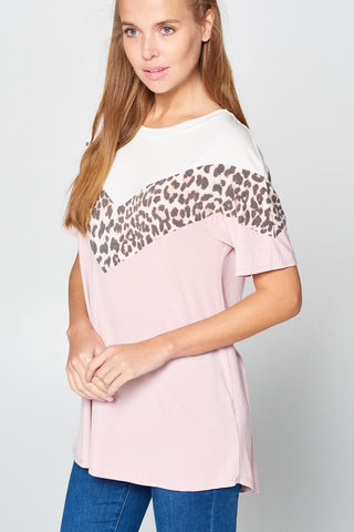 Chevron Shape Leopard Print and Color Block Top