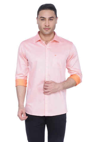 Solid Orange Cotton Shirt