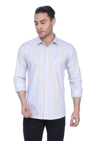 Striped White Blue Brown Cotton Shirt