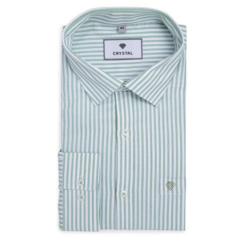Striped White And Green Cotton Shirt