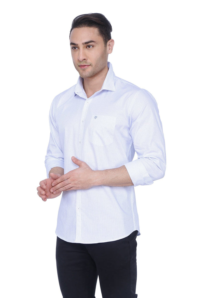 Checked White & Blue Cotton Shirt