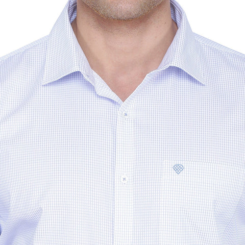 Image of Checked White & Blue Cotton Shirt