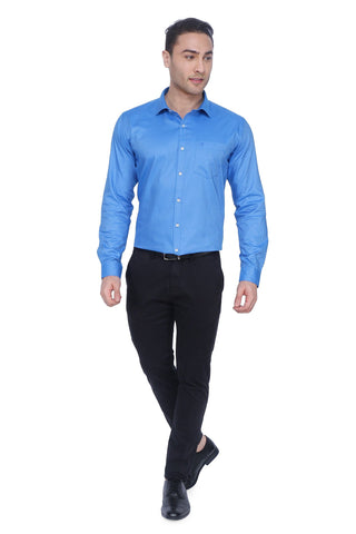 Solid Blue Cotton Shirt