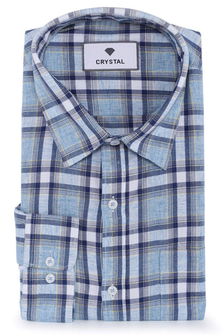 Blue, Sky Blue & White Cotton Shirt