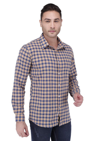 Image of Orange & Blue Cotton Shirt
