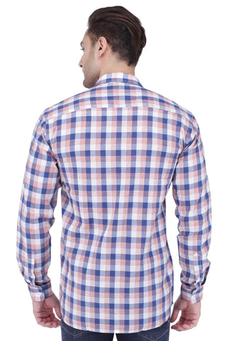 Red, Blue & White Cotton Shirt