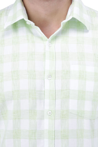 P Green & White Cotton Shirt
