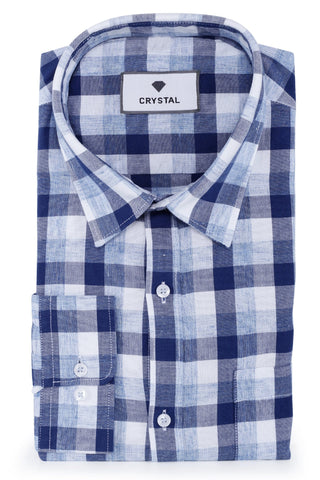 Image of Blue & White Cotton Shirt