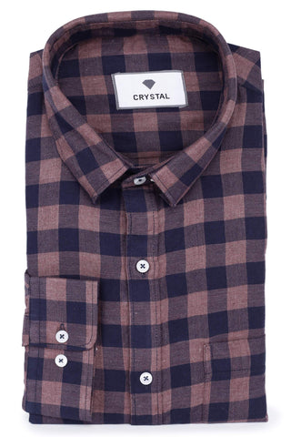 Maroon & Blue Cotton Shirt