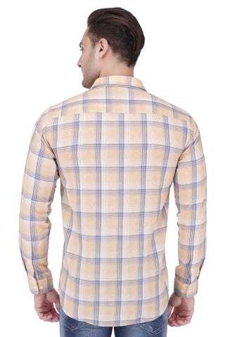 Orange, Blue & White Cotton Shirt