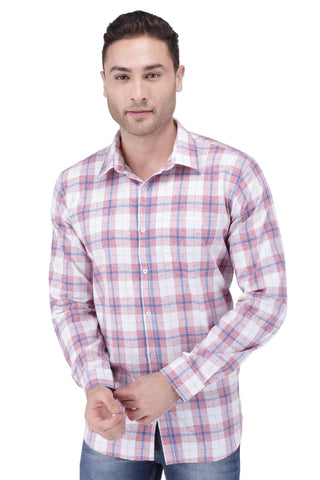 Red, Blue & White Coton Check Shirt