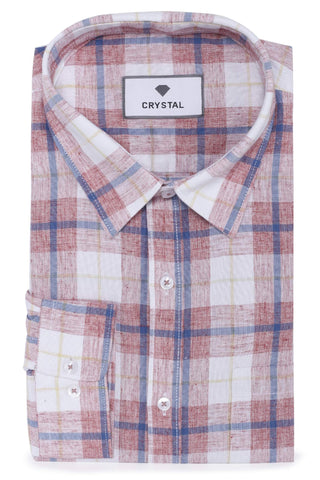 Image of Red, Blue & White Coton Check Shirt