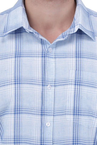 Blue & White Cotton Shirt