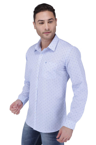 Image of Blue Linen Cotton Blend Shirt
