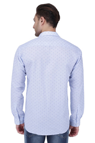 Blue Linen Cotton Blend Shirt