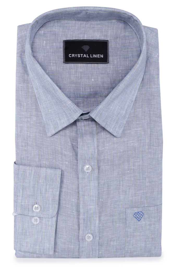 Blue Linen Stripe Shirt
