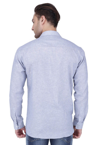 Image of Blue Linen Stripe Shirt