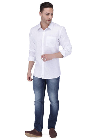Image of White Linen Excel Blend Shirt